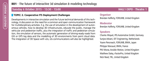 ITS Progranme - The Future of Interactive 3D Simulation and Modeling Technology at the 22nd ITS World Congress